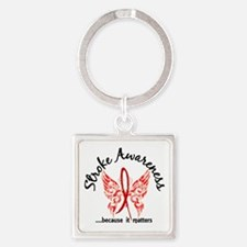 Stroke Butterfly 6.1 Square Keychain