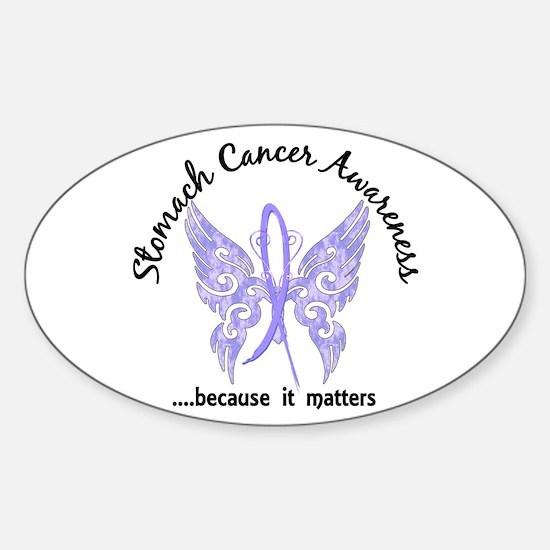 Stomach Cancer Butterfly 6.1 Sticker (Oval)