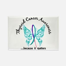 Thyroid Cancer Butterfly 6.1 Rectangle Magnet