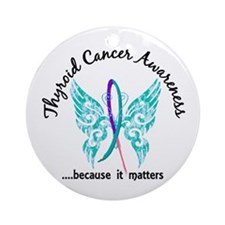 Thyroid Cancer Butterfly 6.1 Ornament (Round)