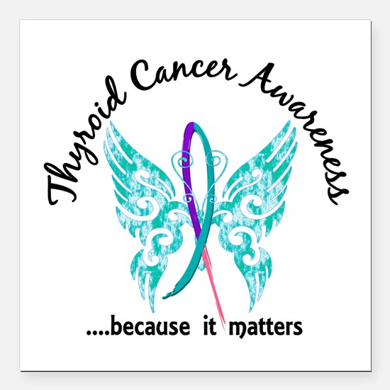 """Thyroid Cancer Butterfly Square Car Magnet 3"""" x 3"""""""