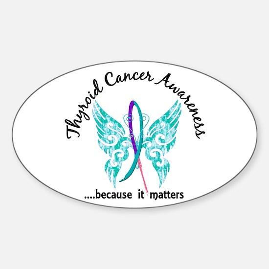 Thyroid Cancer Butterfly 6.1 Sticker (Oval 10 pk)