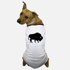 Distressed Bison Silhouette Dog T-Shirt