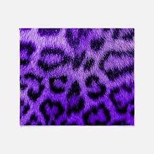 Purple Leopard Throw Blanket