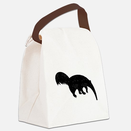 Distressed Anteater Silhouette Canvas Lunch Bag