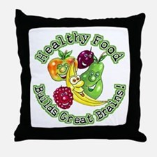 Healthy Food Builds Great Brains! Throw Pillow