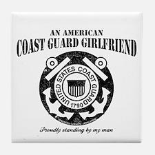 American Coastie Girlfriend Tile Coaster