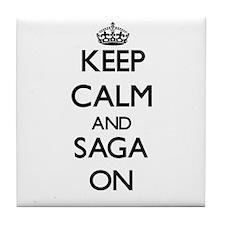 Keep Calm and Saga ON Tile Coaster