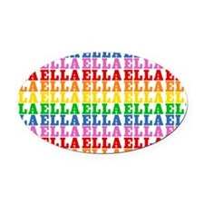 Rainbow Name Pattern Oval Car Magnet