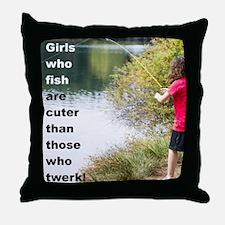 GIRL WHO FISH Throw Pillow
