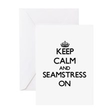 Keep Calm and Seamstress ON Greeting Cards