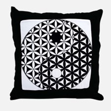 Yin Yang Flower of Life Throw Pillow