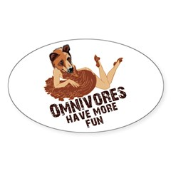 Omnivores Have More Fun Oval Decal
