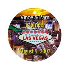 Pam & Vince Wedding Ornament (Round)