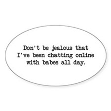 Chatting Online (blk) - Napoleon Oval Decal