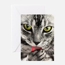 Green Eyed Tabby Greeting Cards