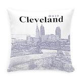 Cleveland skyline Woven Pillows