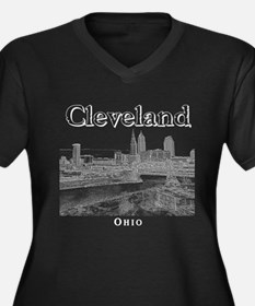 Cleveland Women's Plus Size V-Neck Dark T-Shirt