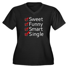 Single Women's Plus Size V-Neck Dark T-Shirt