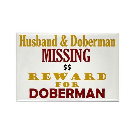 Husband & Doberman Missing Rectangle Magnet (10 pa