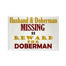 Husband & Doberman Missing Rectangle Magnet