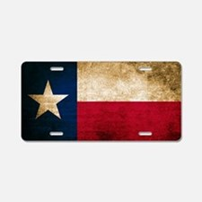 Vintage Flag of Texas Aluminum License Plate