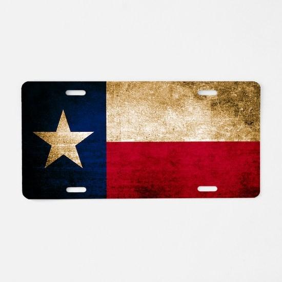 Vintage Flag of Texas Aluminum License Plate