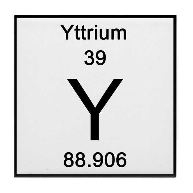 39 Yttrium Tile Coaster By Science Lady