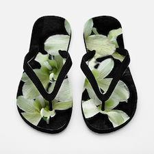 White Orchids on Black Flip Flops