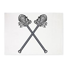 Crossed Lacrosse Sticks 5'x7'Area Rug