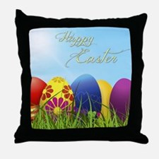 Happy Easter Coloured Eggs Throw Pillow