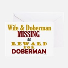 Wife & Doberman Missing Greeting Cards (Pk of 20)