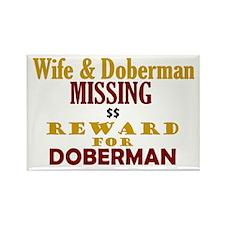 Wife & Doberman Missing Rectangle Magnet