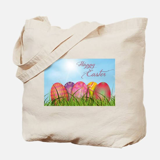Happy Easter Decorated Eggs Tote Bag