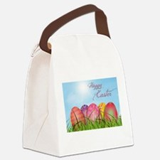 Happy Easter Decorated Eggs Canvas Lunch Bag