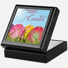 Happy Easter Decorated Eggs Keepsake Box