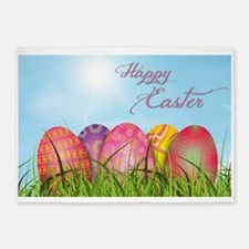 Happy Easter Decorated Eggs 5'x7'Area Rug