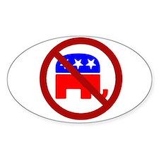 Anti-Elephant Oval Decal