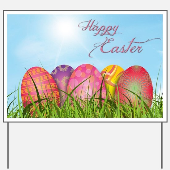 Happy Easter Decorated Eggs Yard Sign