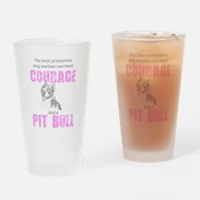 Courage and a Pit Bull Drinking Glass