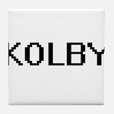Kolby Digital Name Design Tile Coaster