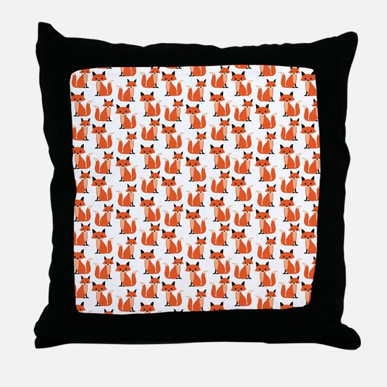 Hipster foxes cute fox pattern woodla Throw Pillow