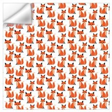 Hipster foxes cute fox pattern woodland critter Wall Decal