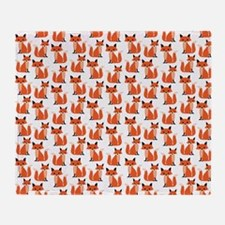 Hipster foxes cute fox pattern woodl Throw Blanket