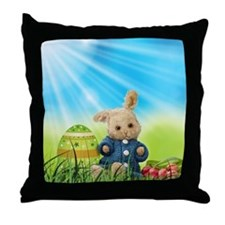 Spring Bunny in Blue Sweater Throw Pillow