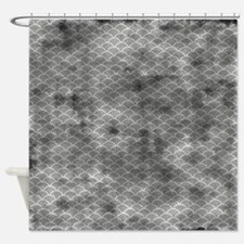 Grungy Grey Fish Scales Shower Curtain