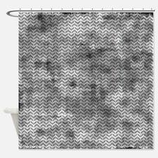 Grungy Grey Herringbone Bricks Shower Curtain