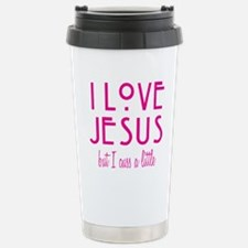 Pink Love Jesus Cuss Stainless Steel Travel Mug