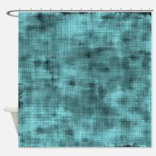 Grungy Blue Crosshatch Shower Curtain