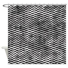 Grungy Black Herringbone Shower Curtain